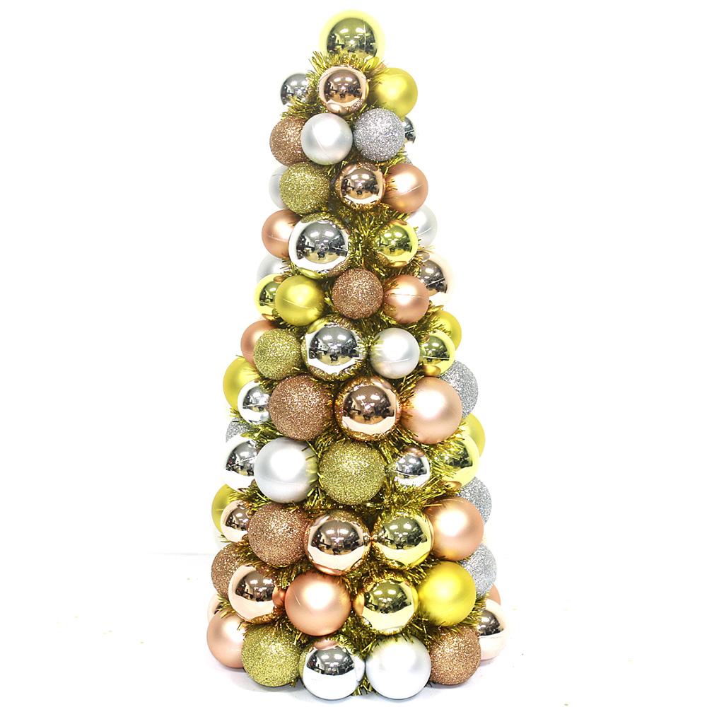 Plated colorful Plastic Ball Christmas tree wraped Tinsel ...
