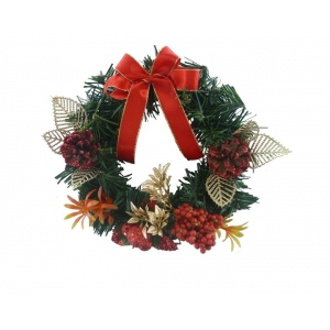 20 cm Christmas wreath with red bow decorations