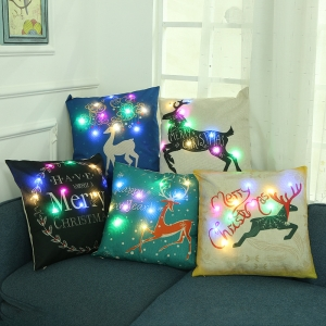45*45cm led Christmas Pillow Case For Home Santa Clause Christmas Deer Cotton Cushion Cover