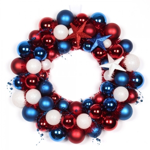 45cm Plastic USA Flag Color Christmas Ball Wreath