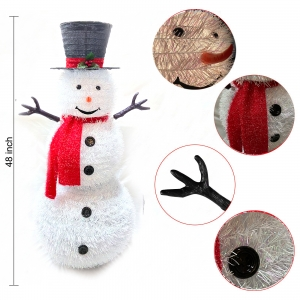 48 inches Pop up snowman Pre-Lit White PVC Collapsible Christmas Snowman with Top Hat and 8 Built-in C7 Bulbs