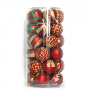 Christmas decoration supplier Plastic customized Christmas ball set with PVC box for Christmas tree decoration