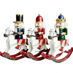 Christmas supplies wooden soldier tabletop decoration ornaments Sets 30cm rocking horse Nutcracker
