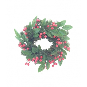 Christmas wreath 12 inch with green leaves and berries