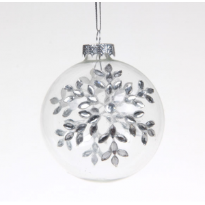 Clear Glass Ball Ornament With Decal Printing