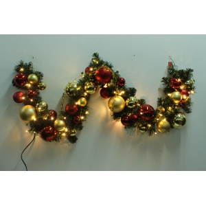 Decorated Christmas Garland With Lights