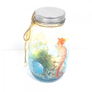 Distinctive Popular Plastic Haning Jar Ornament With Lights