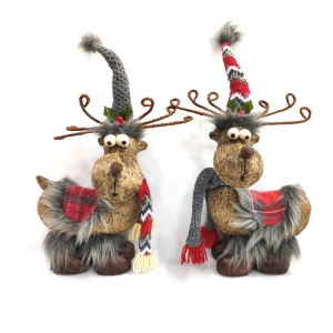 Elk Doll Standing Moose Handmade Stuffed Plush Christmas Reindeer for Home Decor Xmas Decoration Holiday Presents