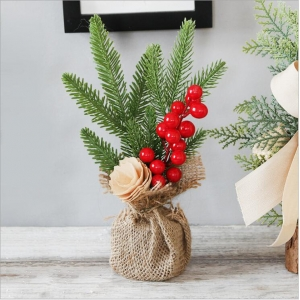 Festival decorations 25cm Christmas mini tree ornaments table top atmosphere decorate potted Christmas tree
