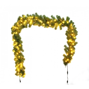 Green Color PVC Christmas Garland with lights