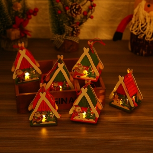 Handmade festival home decoration wooden house miniature led christmas village