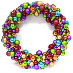 High quality Plastic Christmas ball Wreath for holiday decoration