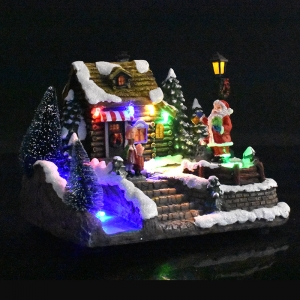 LED christmas house village for festival indoor tabletop decor with landscape
