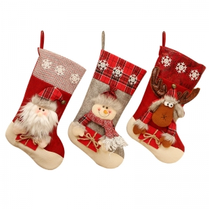 Large plush candy gift bag santa christmas stockings for hanging decoration
