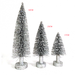 Mini colored ornaments wooden base bottle brush christmas trees for home party holiday