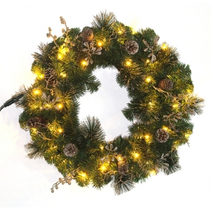 PVC Christmas Wreath with Natural Pinecone Decorations