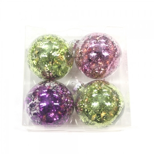 Promotional plastic Christmas transparent ball with ornaments
