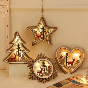 Snowflake heart pentastar tree shape bedroom Lamp lights Christmas led Wood tree for home decoration