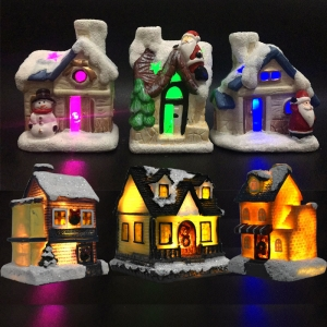 Tabletop indoor decoration ceramics house ornaments led resin christmas village
