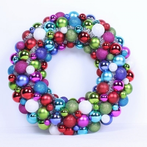 Wreath made with shatterproof Christmas ball decoration