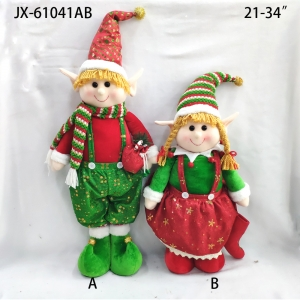 Xmas festival gift ornaments tree hanging santa doll plush christmas toy for home decor