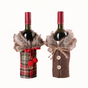Xmas table festival decorations Gift Bag red christmas wine bottle cover with props bow linen hair collar