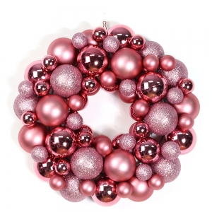 indoor christmas decoration 14'' plastic xmas ball ornament wreath