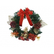 China 20 cm Christmas wreath with red bow decorations factory