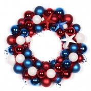 China 45cm Plastic USA Flag Color Christmas Ball Wreath factory