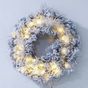 China Christmas led battery operated light up outdoor christmas wreath factory