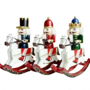 Chine Christmas supplies wooden soldier tabletop decoration ornaments Sets 30cm rocking horse Nutcracker usine