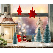 China DIY Room Decor Tabletop Ornaments Multicolor Winter Snow Frosted mini brissel Christmas bottle brush trees with Wood Base factory