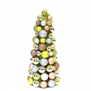 China Hot Sell Metallic Christmas cone tree with gold tinsel factory