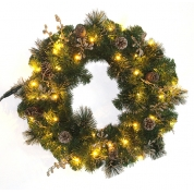 China PVC Christmas Wreath with Natural Pinecone Decorations factory