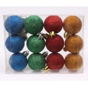 China Promotional salable plastic hanging Christmas glitter ball factory