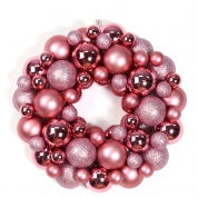China indoor christmas decoration 14'' plastic xmas ball ornament wreath factory