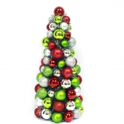 China mini Plastic Christmas Ball Ornament Tree With Tinsel factory