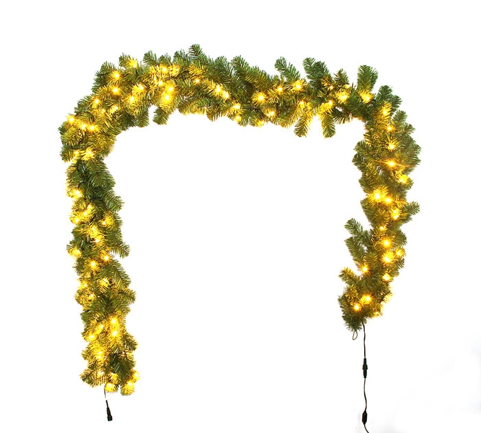 Christmas garland with lights pvc