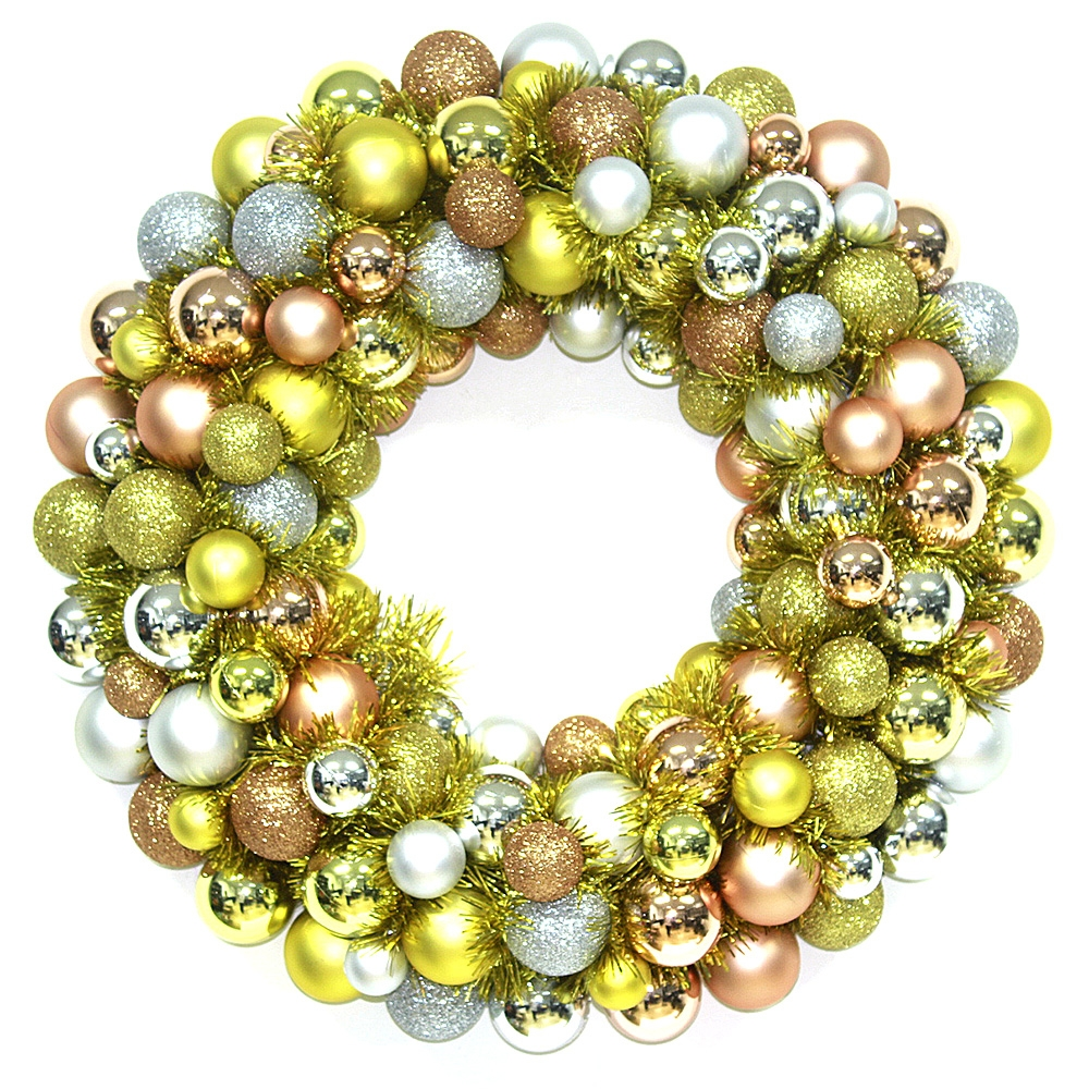 Hot sale Golden Christmas Ball Wreath ornaments for decor on light