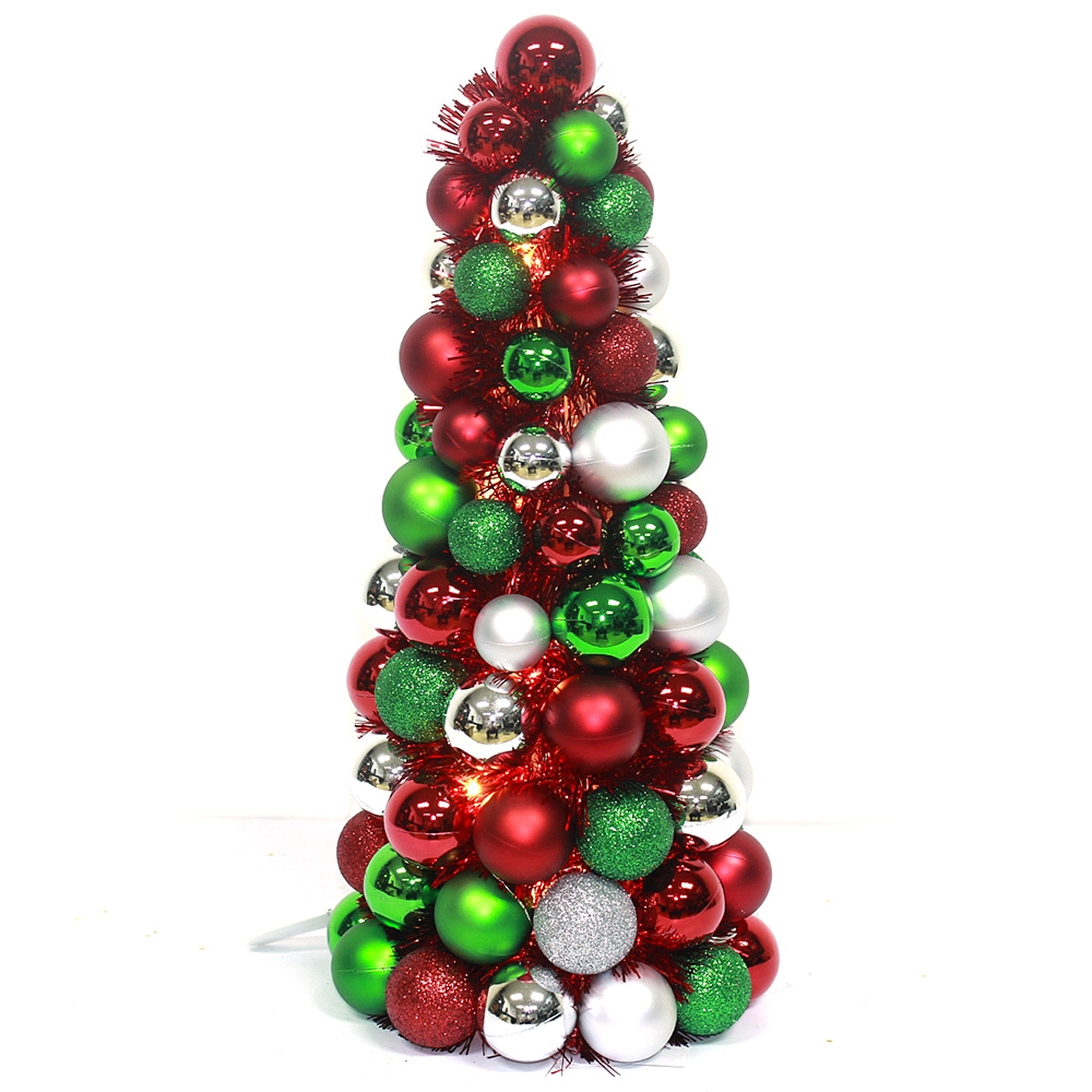 Plated colorful Plastic Ball Christmas tree wraped Tinsel