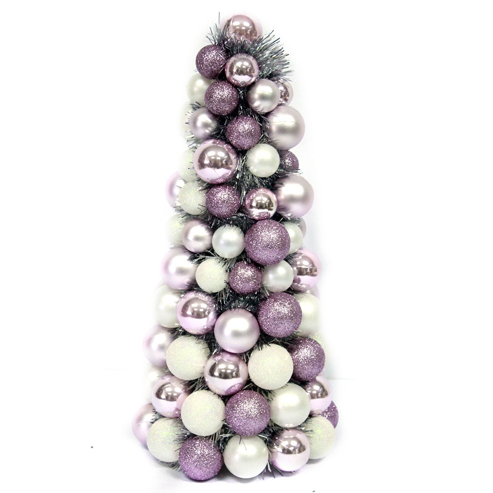 Shatterproof Christmas Ball Ornament Table Top Cone Tree