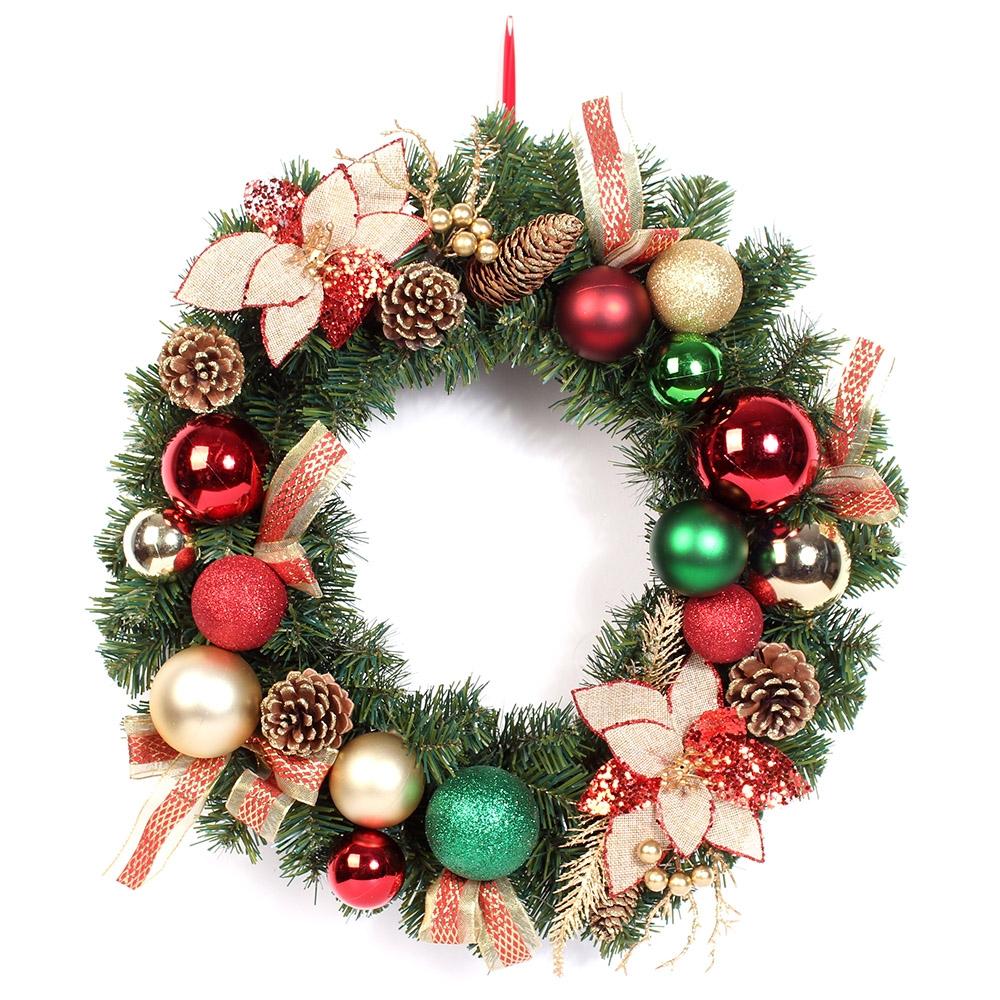 Lighted ornament christmas wreaths