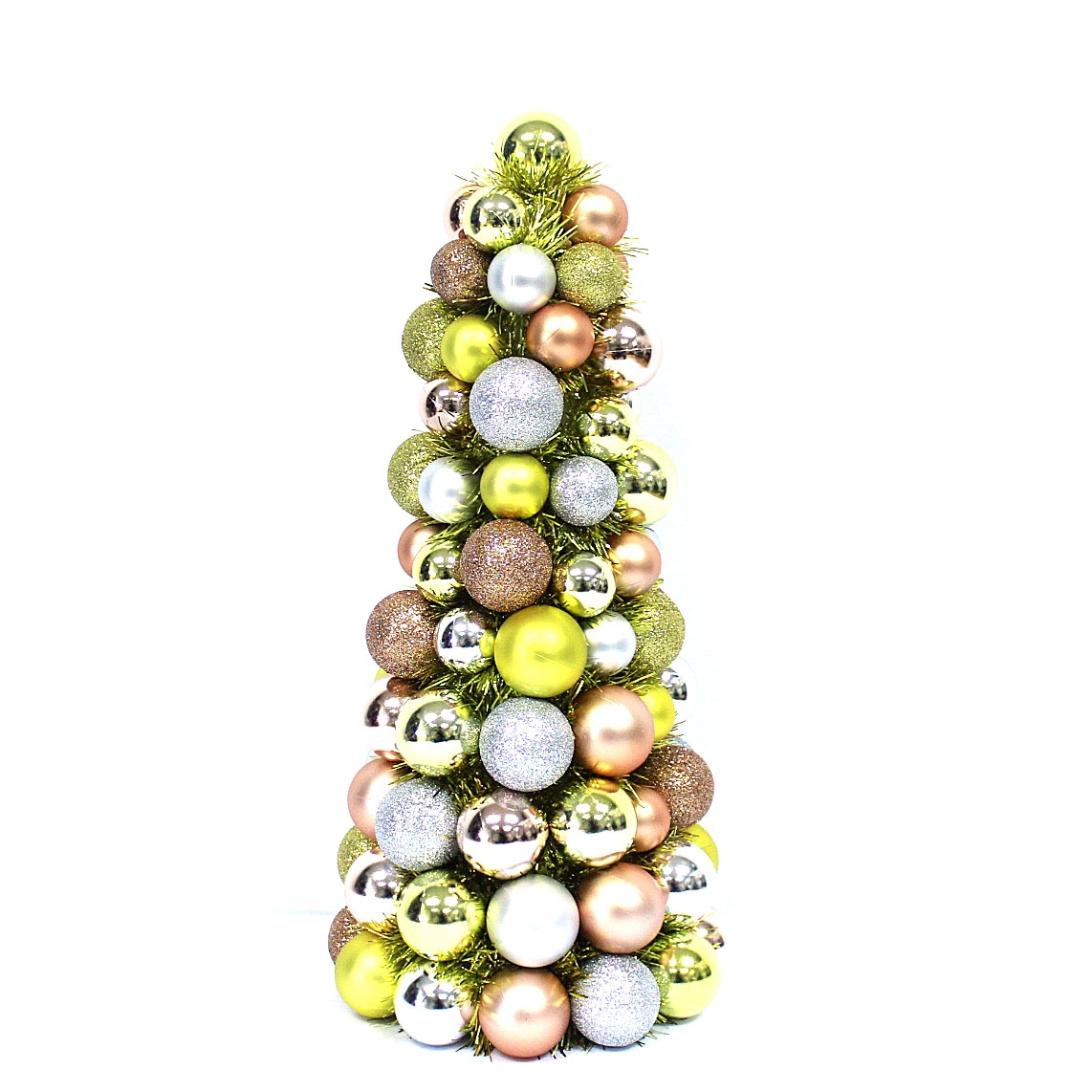 mini Plastic Christmas Ball Ornament Tree With Tinsel
